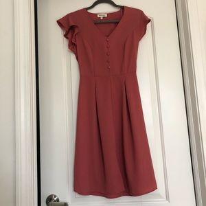 corral/pink dress